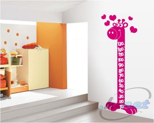 Adesivi murali camera dei bambini giraffa metro altezza - Adesivi camera bambini ...