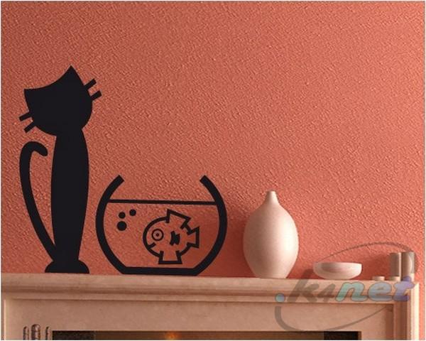 Specchio Sagomato Gatto Silvestro : Wall stickers sticker gatto silvestro con boccia pesce